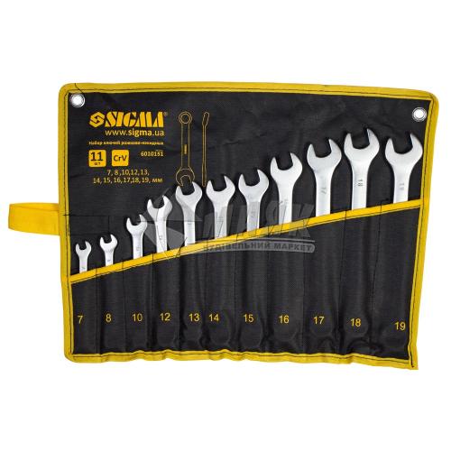 Набір ключів ріжково-накидних SIGMA 7-19 мм 11 шт Cr-V