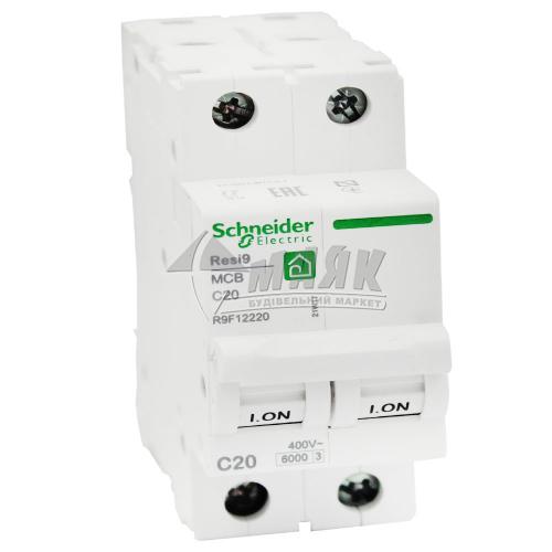 Вимикач автоматичний Schneider RESI9 2Р 20А 6кА С