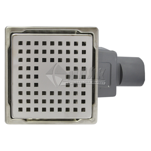 Трап для душу Valtemo Base INOX-S 150×150 мм боковий вивід 50 мм нержавіюча сталь