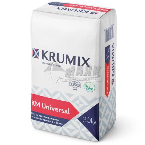Штукатурка гіпсова KRUMIX KM Universal інтер'єрна ручне нанесення 30 кг