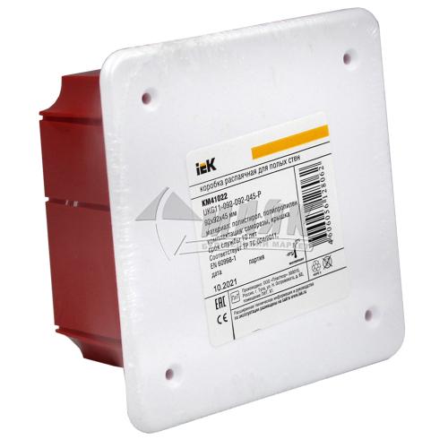 Коробка розподільча IEK КМ41022 92×92×45 мм квадратна для гіпсокартону пластикові пелюстки