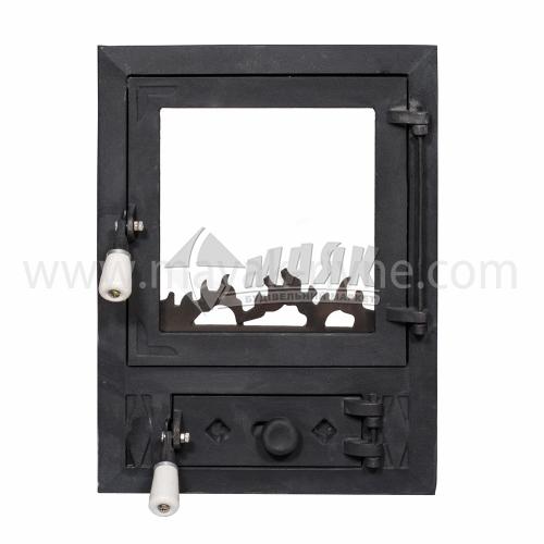 Дверцята для каміна прямокутні зі склом 360×480 мм 12,7 кг