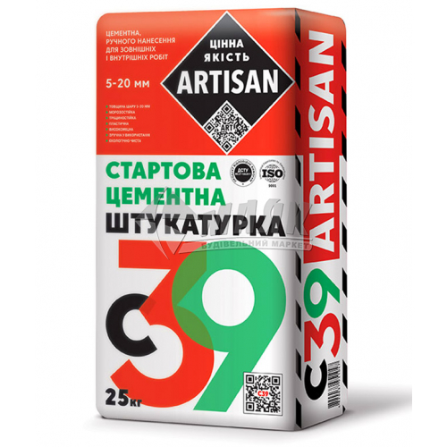 Штукатурка цементна Artisan С-39 стартова вирівнювальна 25 кг