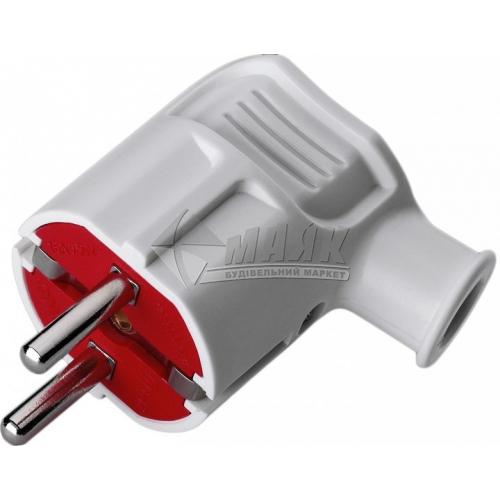 Вилка Mono Electric 16А із заземленням кутова біло-червона