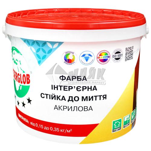 Фарба інтер'єрна Anserglob Стійка до миття акрилова 14 кг біла матова