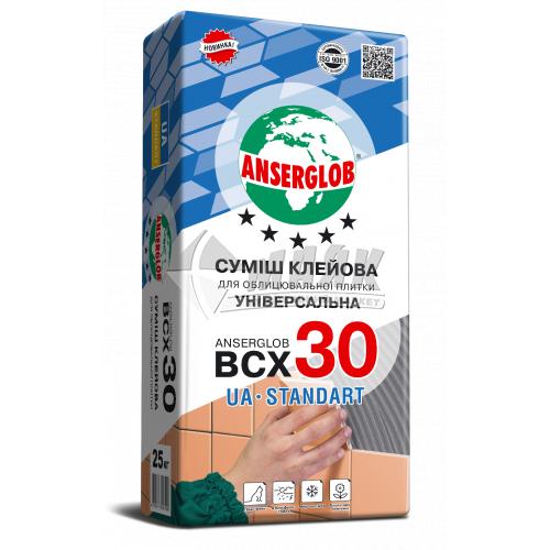 Клей для облицювальної плитки Anserglob BCX 30 Універсальна UA Standart 25 кг