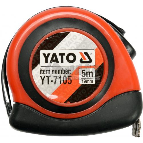 Рулетка YATO прогумований корпус 1 функція 5 м×19 мм нейлонове покриття стрічки з магнітом