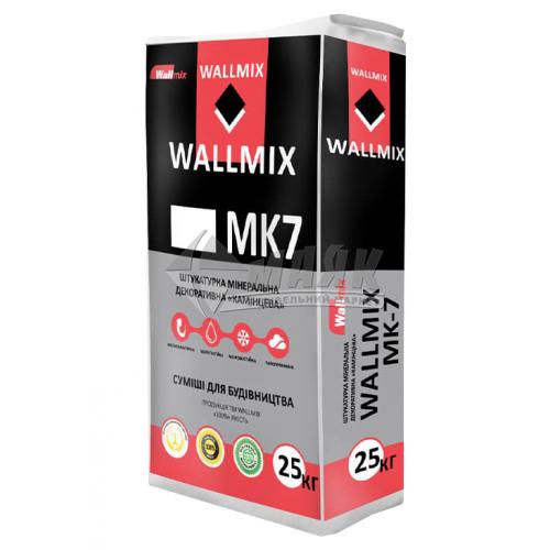 Штукатурка декоративна мінеральна Wallmix MK7 Камінцева Баранець 1,5 мм 25 кг біла