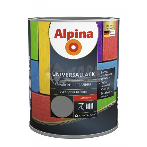 Емаль алкідна ALPINA UNIVERSALLACK 0,75 л сіра глянцева
