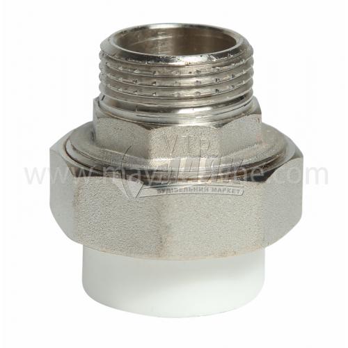 """З'єднувач поліпропіленовий роз'ємний VALTEC 32 мм х 1"""" зовнішня різьба білий"""