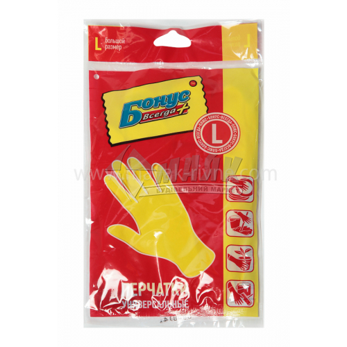 Рукавиці латексні господарські Бонус 4824 L (9) універсальні жовті
