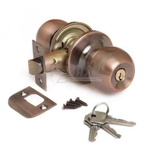 Ручка-замок (кнобсет) дверний Apecs 6072-01-АС мідь