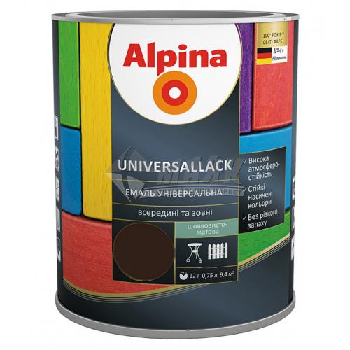 Емаль алкідна ALPINA UNIVERSALLACK 0,75 л шоколадна шовковисто-матова