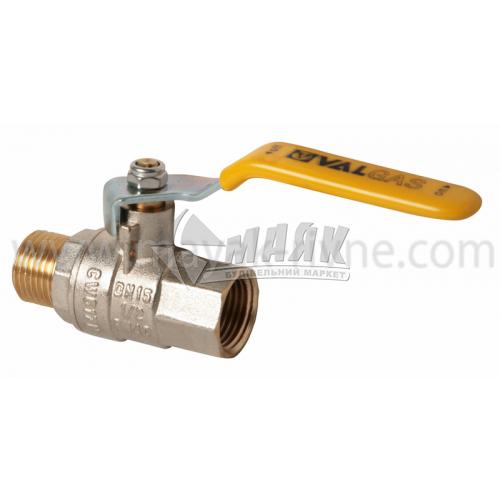 """Кран кульовий газовий VALTEC VALGAS 1/2"""" внутрішня-зовнішня різьба сталева ручка"""