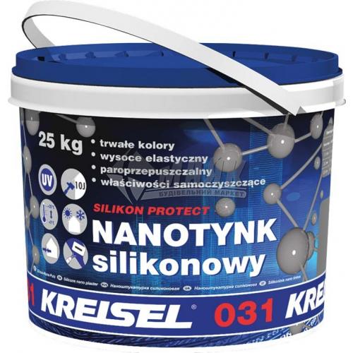 Штукатурка декоративна силіконова Kreisel TYNK SILIKON PROTECT 031 Камінцева Баранець 1,5 мм база А 25 кг біла