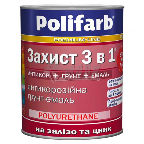 Емаль антикорозійна Polifarb 3в1 для оцинкованого металу 2,7 кг вишнева
