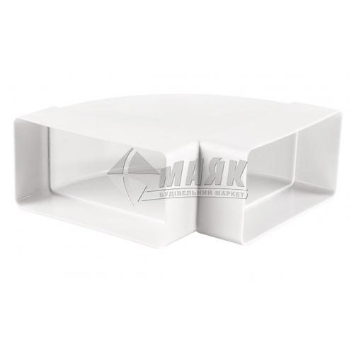 Коліно вентиляційне плоске горизонтальне VENTS 8281 90° 204×60 мм
