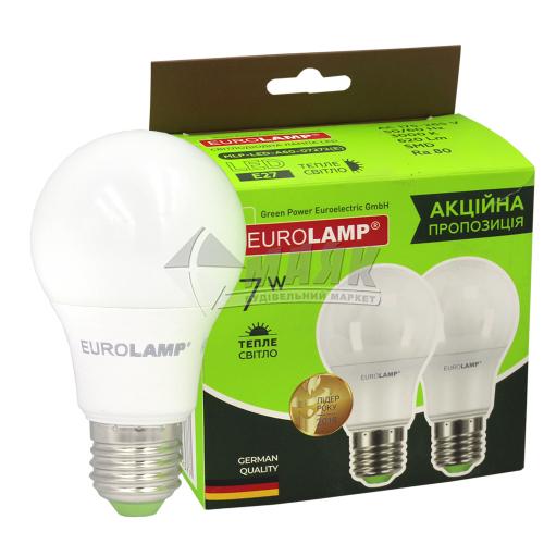 Лампа світлодіодна класична (груша) EUROLAMP 8Вт Е27 А60 3000°К (MLP-LED-A60-07272(E)) 2 шт