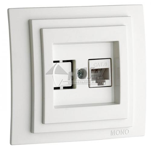 Розетка комп'ютерна подвійна Mono Electric DESPINA біла
