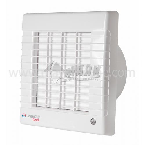 Вентилятор витяжний VENTS 125 МА турбо (автоматичні жалюзі) 170×186 мм