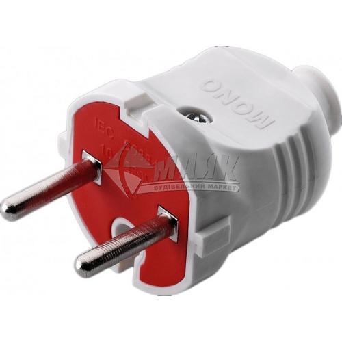 Вилка Mono Electric 16А без заземлення біло-червона