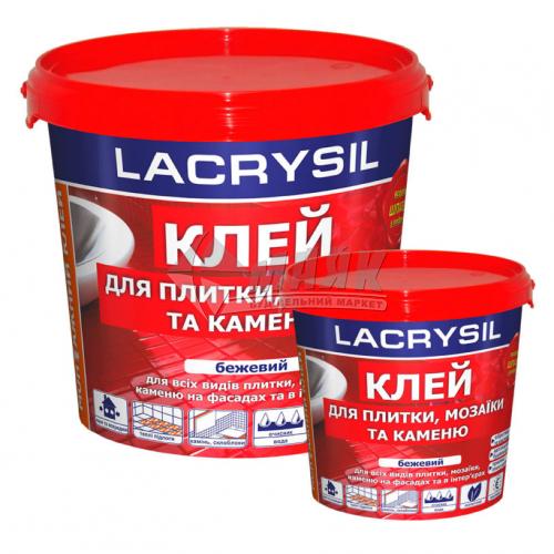 Клей для плитки, мозаїки та каменю акриловий LACRYSIL Круче сухих смесей 8 кг бежевий