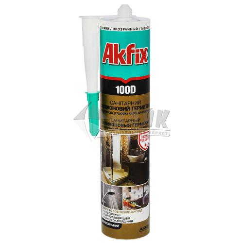 Герметик силіконовий санітарний Akfix 100D 280 мл прозорий