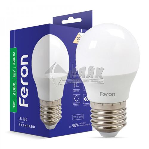 Лампа світлодіодна куля Feron 4Вт Е27 G45/Р45 2700°К (LB-380) 25641