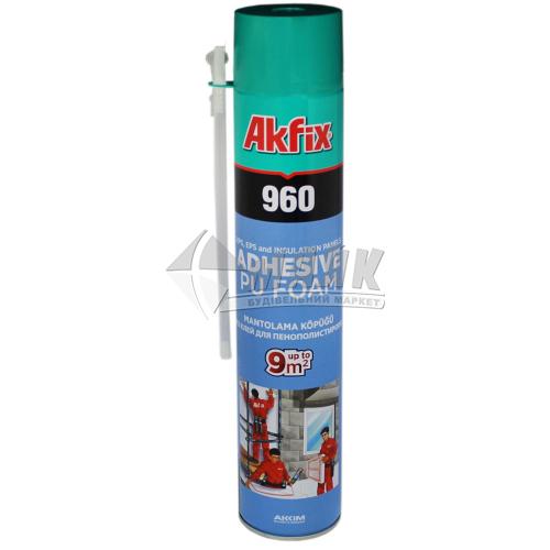 Піна-клей монтажна ручна для пінопласту Akfix 960 55 л літня 850 г