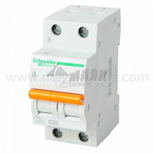 Вимикач автоматичний Schneider ВА63 2Р 25А 4,5кА С