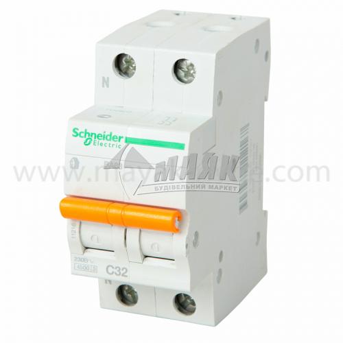 Вимикач автоматичний Schneider ВА63 2Р 32А 4,5кА С