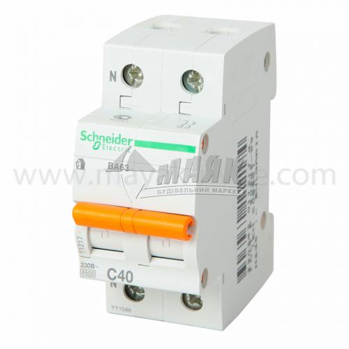 Вимикач автоматичний Schneider ВА63 2Р 40А 4,5кА С