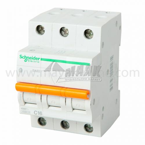 Вимикач автоматичний Schneider ВА63 3Р 16А 4,5кА С