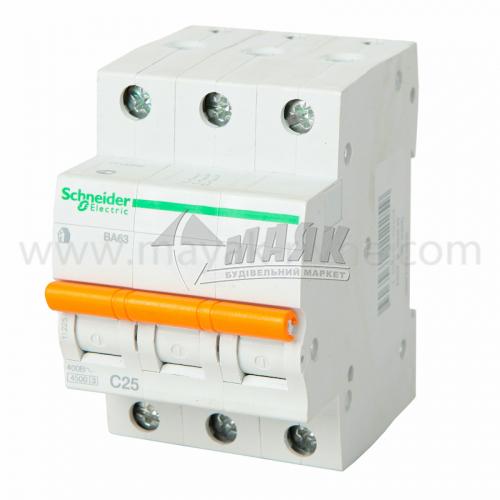 Вимикач автоматичний Schneider ВА63 3Р 25А 4,5кА С