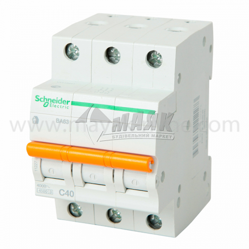 Вимикач автоматичний Schneider ВА63 3Р 40А 4,5кА С