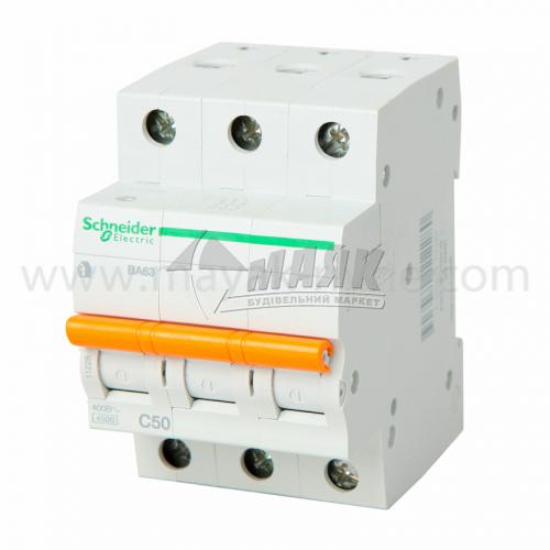 Вимикач автоматичний Schneider ВА63 3Р 50А 4,5кА С
