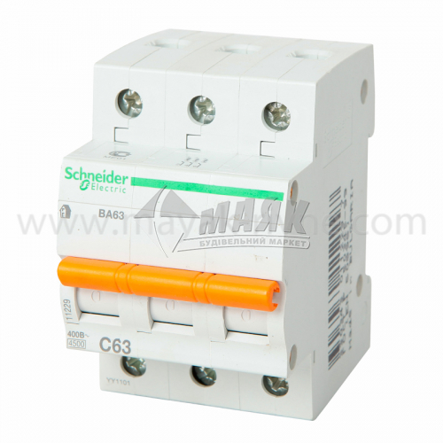 Вимикач автоматичний Schneider ВА63 3Р 63А 4,5кА С