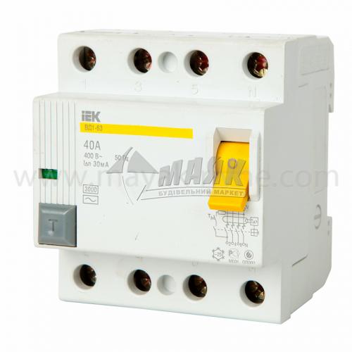 Вимикач диференційний (ПЗВ) IEK ВД1-63 4Р 40А 30мА