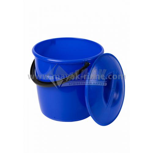 Відро пластикове господарське кругле з кришкою Модерн 12 л в асортименті
