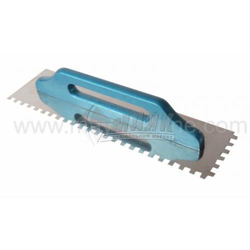 Гладилка зубчаста Швейцарська зуб 10×10 мм 130×480 мм дерев'яна ручка