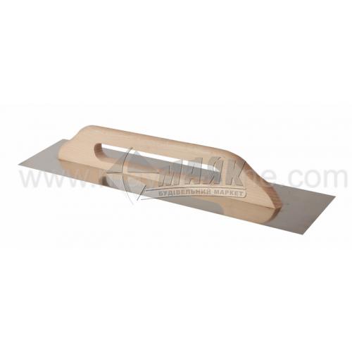 Гладилка гладка Швейцарська 125×600 мм нержавіюча сталь дерев'яна ручка