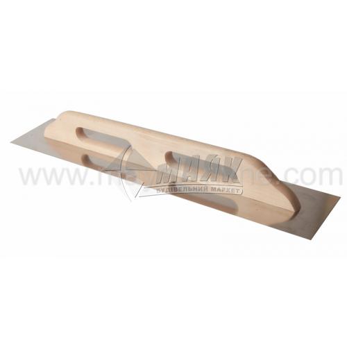 Гладилка гладка Швейцарська 125×700 мм нержавіюча сталь дерев'яна ручка