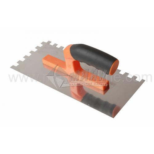 Гладилка зубчаста зуб 6×6 мм 120×280 мм нержавіюча сталь ергономічна ручка