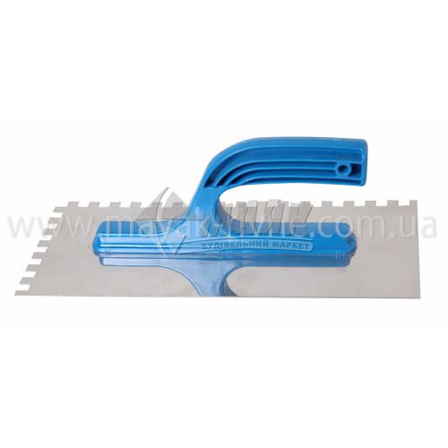 Гладилка зубчаста зуб 6×6 мм 125×270 мм нержавіюча сталь пластикова ручка