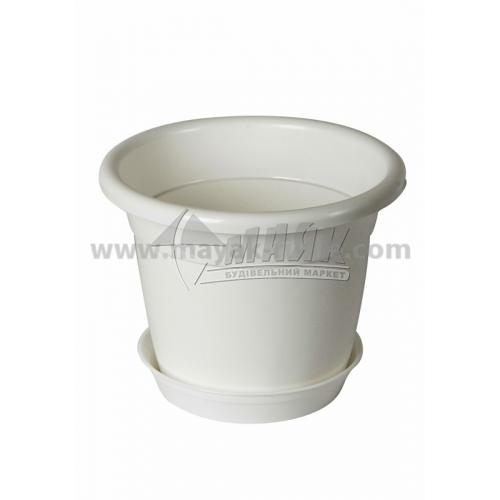 Горщик для квітів пластиковий круглий 1,75 л з підставкою білий