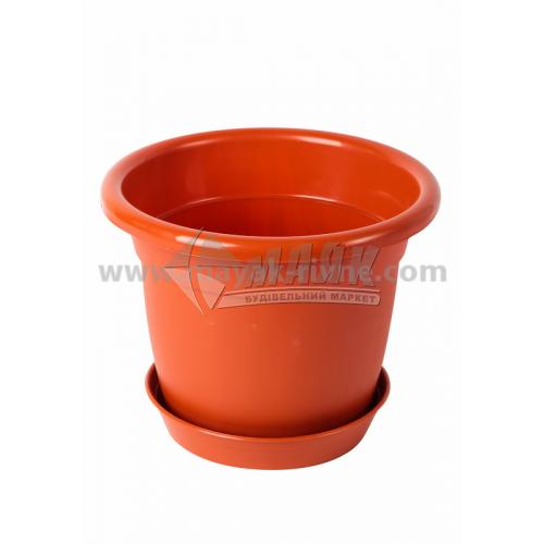Горщик для квітів пластиковий круглий 1,75 л з підставкою коричневий