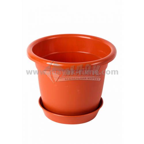Горщик для квітів пластиковий круглий 1 л з підставкою коричневий