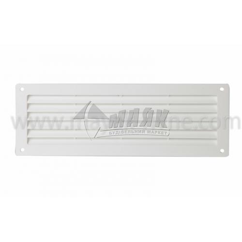 Решітка вентиляційна дверна прямокутна ДОМОВЕНТ ДВ 350 130×368 мм біла