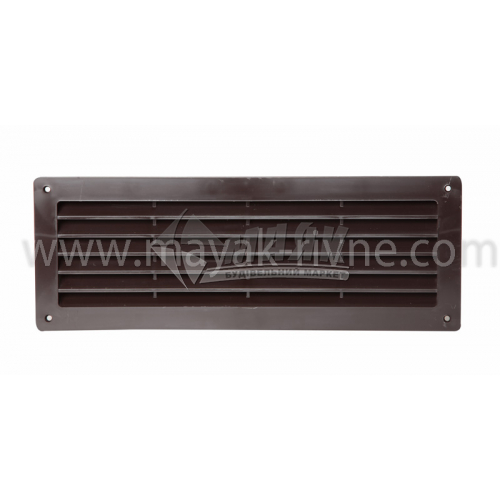 Решітка вентиляційна дверна прямокутна ДОМОВЕНТ ДВ 350 130×365 мм коричнева