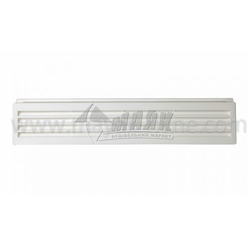 Решітка вентиляційна дверна прямокутна ДОМОВЕНТ ДВ 430/2 91×453 мм біла